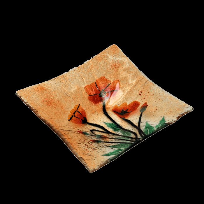 Πιατέλα χειροποίητη γυάλινη ''Καλλίστη'' παπαρούνες πορτοκαλί 23χ23