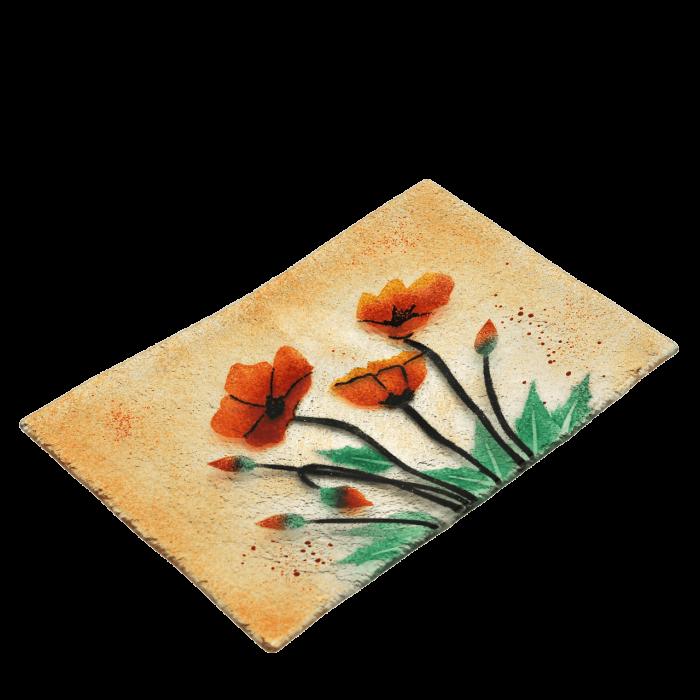 Πιατέλα χειροποίητη γυάλινη ''Καλλίστη'' παπαρούνες πορτοκαλί 19,5χ29,5