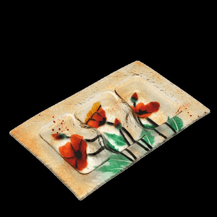 Ξηροκαρπιέρα γυάλινη χειροποίητη ''Καλλίστη'' παπαρούνες πορτοκαλί 17,5x27,5