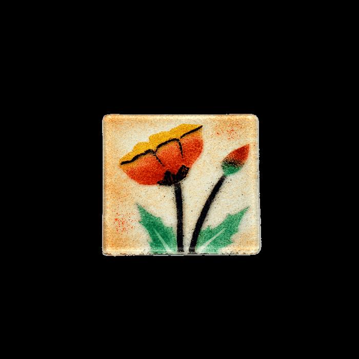 Σουβέρ 6άδα γυάλινο χειροποίητο ''Καλλίστη'' παπαρούνες πορτοκαλί 9,5x9,5