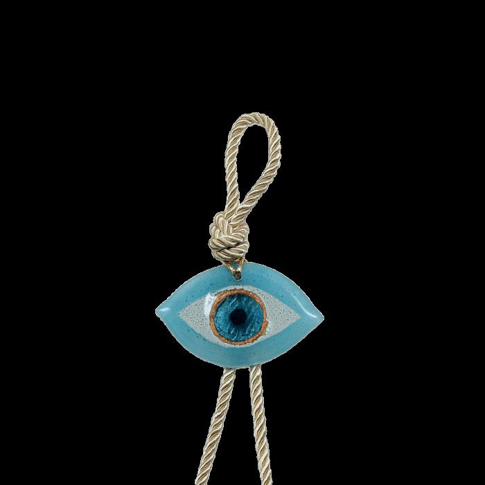 Γούρι γυάλινο χειροποίητο μάτι ''Καλλίστη'' DBAG6 34εκ. σιέλ-λευκό-χρυσό