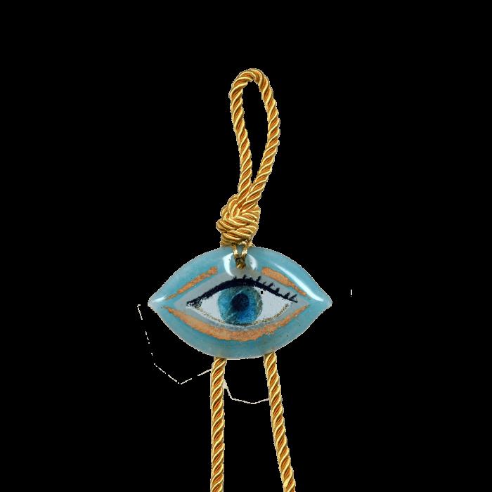 Γούρι γυάλινο χειροποίητο μάτι ''Καλλίστη'' DBAG24 38εκ. σιέλ-λευκό-χρυσό