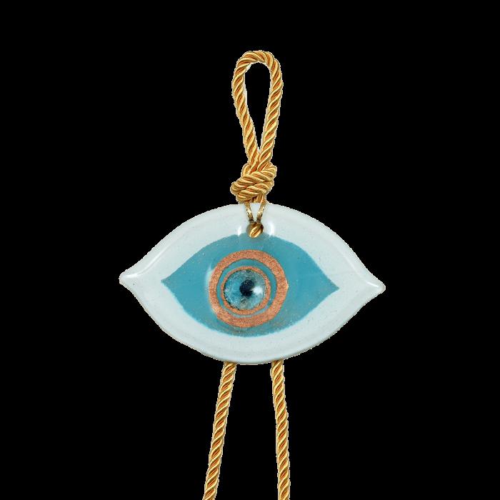 Γούρι γυάλινο χειροποίητο μάτι ''Καλλίστη'' DBAG14  40εκ. λευκό-χρυσό-σιέλ