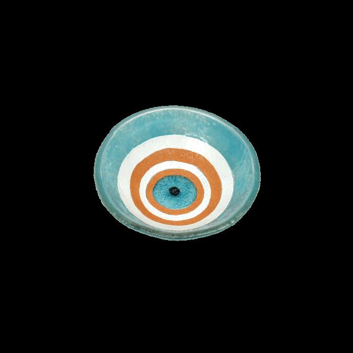 Μπωλ γυάλινο χειροποίητο ''Καλλίστη'' μάτι γαλάζιο 10.5εκ.