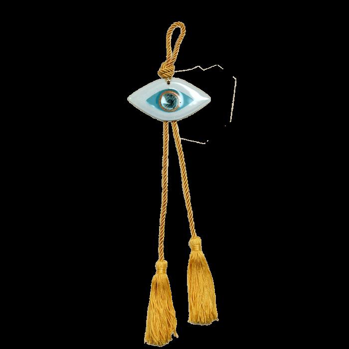 Γούρι γυάλινο χειροποίητο μάτι ''Καλλίστη'' DBAG15  40εκ. λευκό-σιέλ-χρυσό