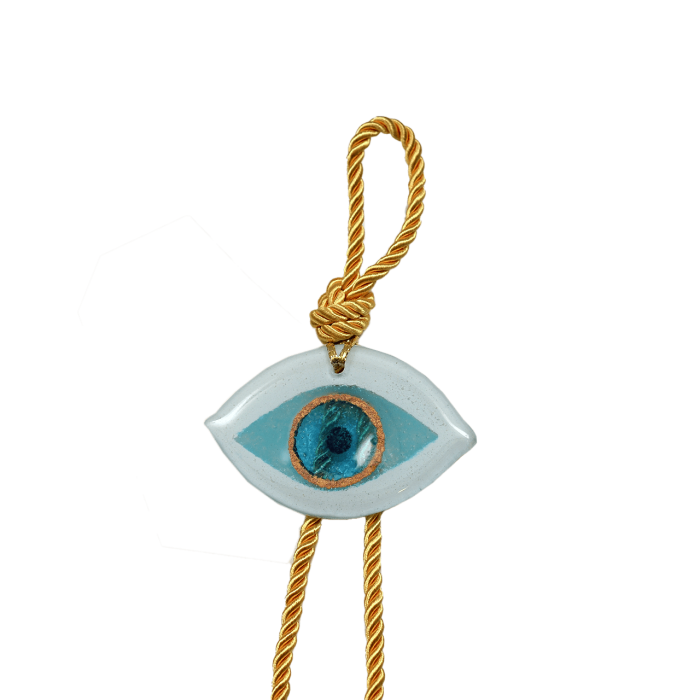 Γούρι γυάλινο χειροποίητο μάτι ''Καλλίστη'' DBAG16  37εκ. λευκό-σιέλ-χρυσό