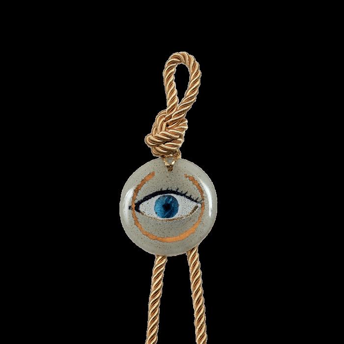 Γούρι γυάλινο χειροποίητο μάτι ''Καλλίστη'' DBAG26  35εκ.  Βλεφαρίδα λευκό