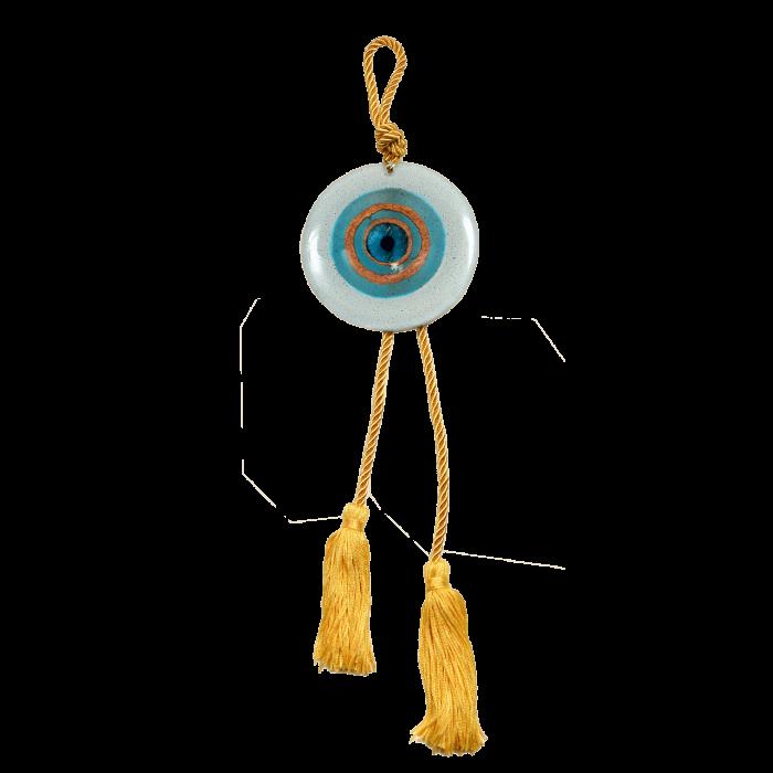 Γούρι γυάλινο χειροποίητο μάτι ''Καλλίστη'' DBAG11 38εκ. σιέλ-λευκό-χρυσό