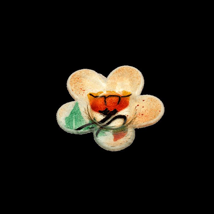 Κηροπήγιο γυάλινο χειροποίητο ''Καλλίστη'' παπαρούνες πορτοκαλί 11,5εκ.