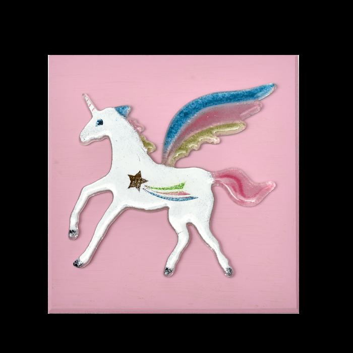 Πίνακας ξύλινο χειροποίητο ''Καλλίστη'' μονόκερος ροζ 20χ20