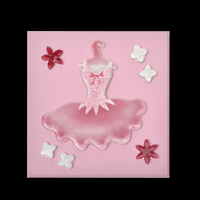 Πίνακας χειροποίητος ξύλινος ''Καλλίστη'' 20χ20 φόρεμα μπαλαρίνας ροζ