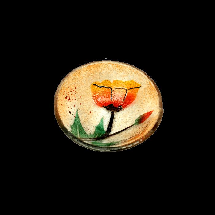 Μπωλ γυάλινο χειροποίητο ''Καλλίστη'' παπαρούνες πορτοκαλί 10.5εκ.