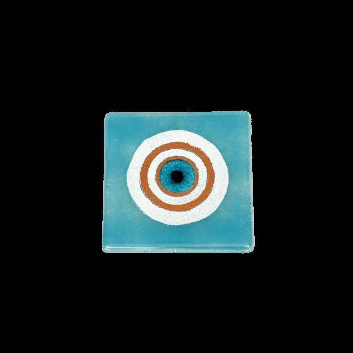 Σουβέρ 6άδα γυάλινο χειροποίητο ''Καλλίστη'' μάτι γαλάζιο 9,5χ9,5