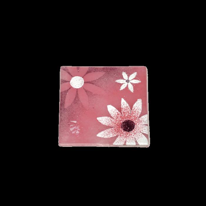 Σουβέρ 6άδα γυάλινο χειροποίητο ''Καλλίστη'' μαργαρίτες ροζ 9,5χ9,5