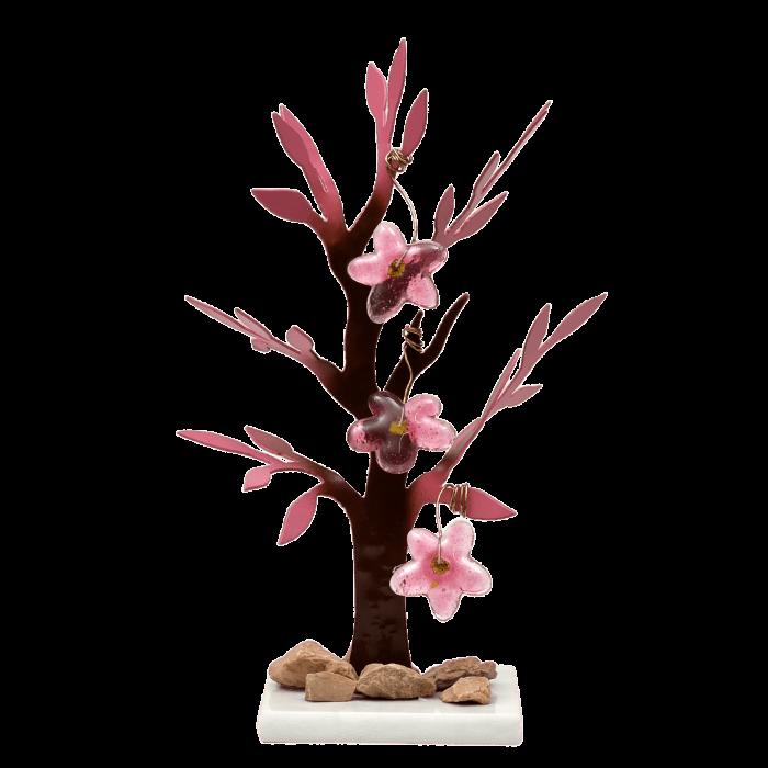 Δέντρο Νο3 μεταλλικό χειροποίητο ''Καλλίστη'' αμυγδαλιά ροζ 25εκ.