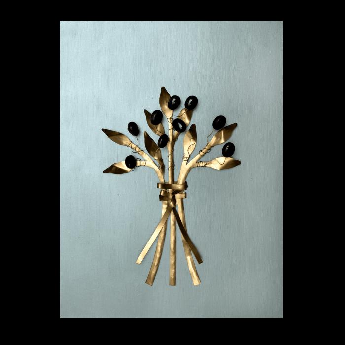 Πίνακας ξύλινο χειροποίητο ''Καλλίστη'' 44χ34  Μεταλλικό μπουκέτο ελιά χρυσό-πετρόλ