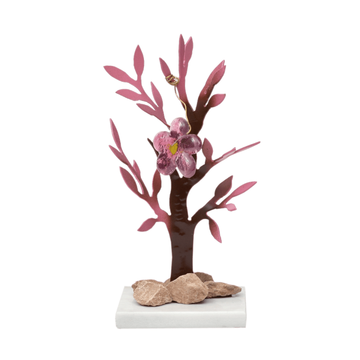 Δέντρο Νο1 μεταλλικό χειροποίητο ''Καλλίστη'' αμυγδαλιά ροζ 16εκ.