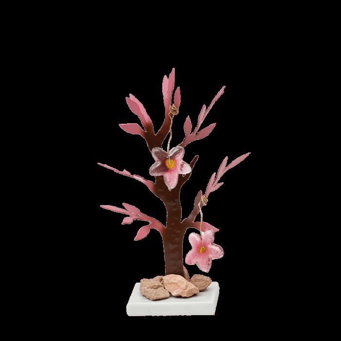 Δέντρο Νο2 μεταλλικό χειροποίητο ''Καλλίστη'' αμυγδαλιά ροζ 20εκ.
