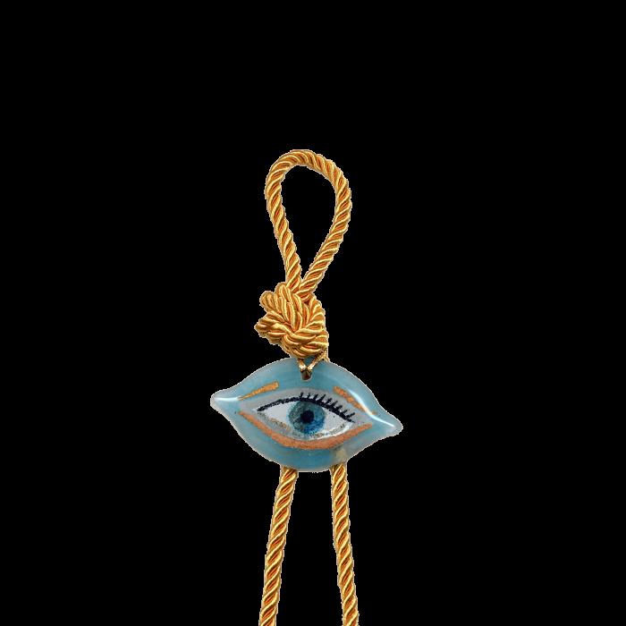 Γούρι γυάλινο χειροποίητο μάτι ''Καλλίστη'' DBAG25 31εκ. Βλεφαρίδα γαλάζιο