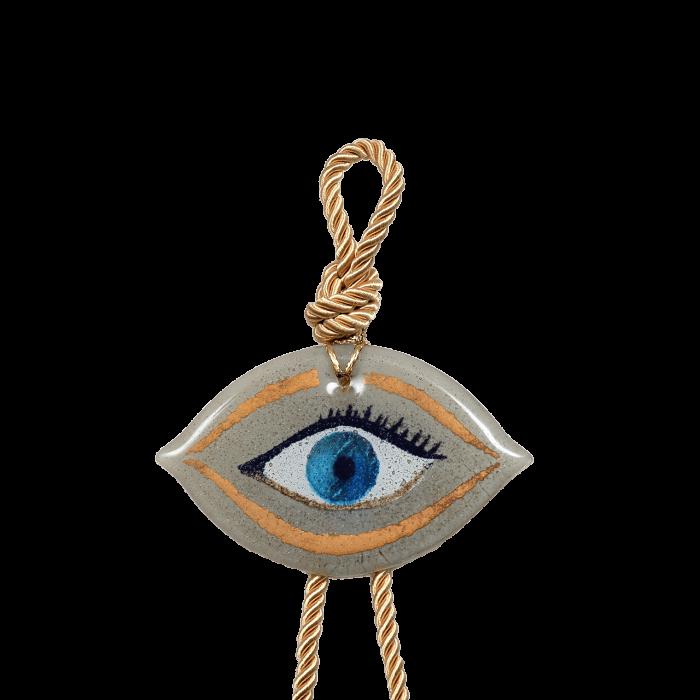 Γούρι γυάλινο χειροποίητο μάτι ''Καλλίστη'' DBAG31 35εκ. Βλεφαρίδα λευκό
