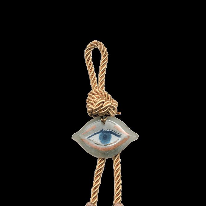 Γούρι γυάλινο χειροποίητο μάτι ''Καλλίστη'' DBAG29 24εκ. Βλεφαρίδα λευκό