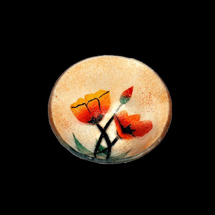 Μπωλ γυάλινο χειροποίητο ''Καλλίστη'' παπαρούνες πορτοκαλί 13εκ.
