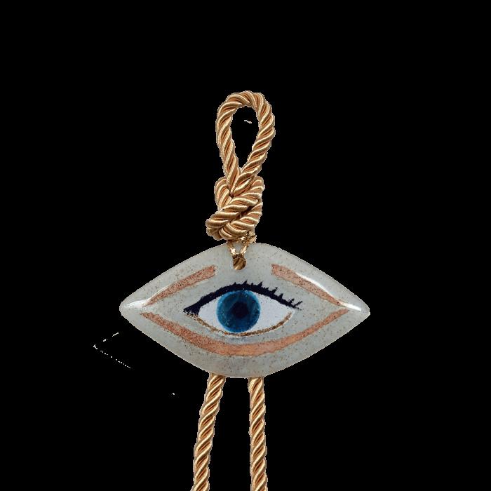 Γούρι γυάλινο χειροποίητο μάτι ''Καλλίστη'' DBAG30  34εκ. Βλεφαρίδα λευκό