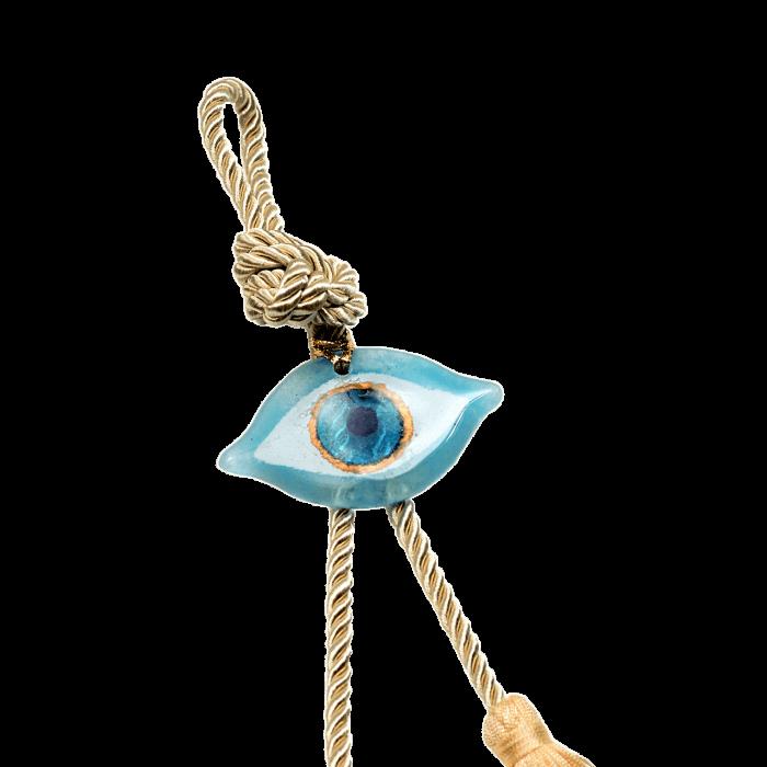Γούρι γυάλινο χειροποίητο μάτι ''Καλλίστη'' DBAG5 27εκ. σιέλ-λευκό-χρυσό