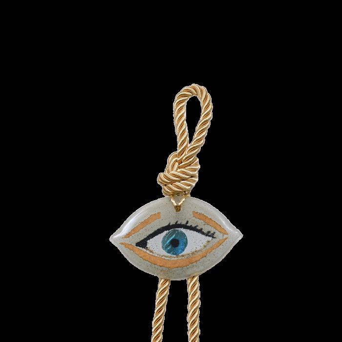 Γούρι γυάλινο χειροποίητο μάτι ''Καλλίστη'' DBAG32 34εκ. Βλεφαρίδα λευκό