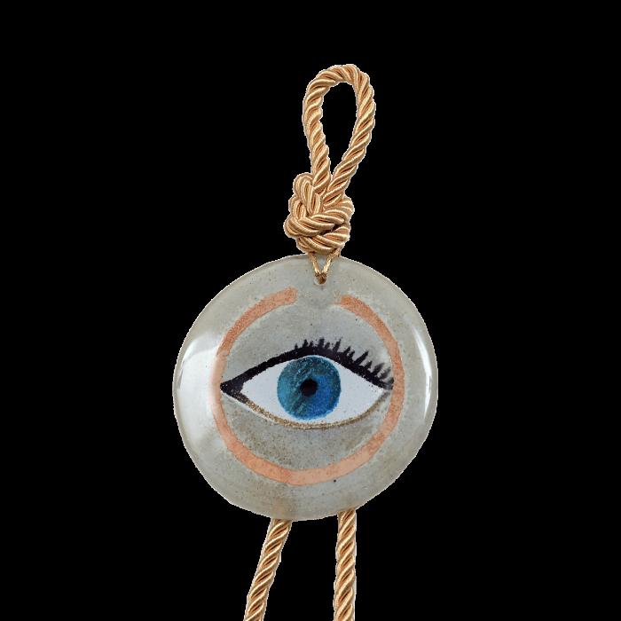 Γούρι γυάλινο χειροποίητο μάτι ''Καλλίστη'' DBAG28  36εκ.  Βλεφαρίδα λευκό