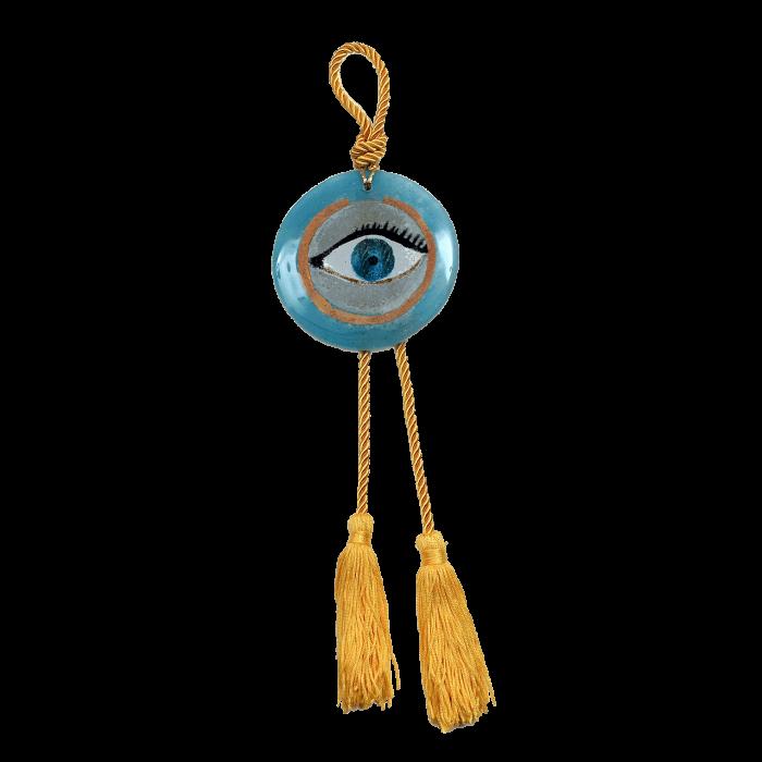 Γούρι γυάλινο χειροποίητο μάτι ''Καλλίστη'' DBAG20  35εκ. Βλεφαρίδα γαλάζιο