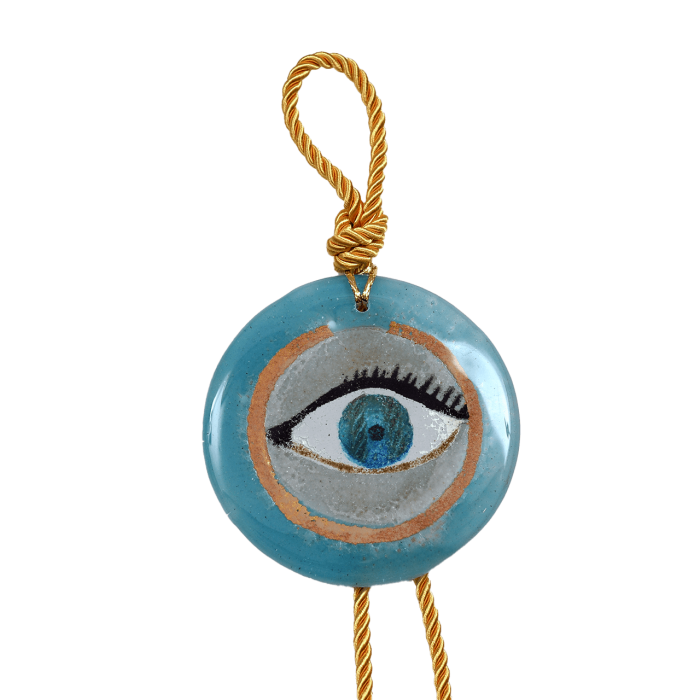 Γούρι γυάλινο χειροποίητο μάτι ''Καλλίστη'' DBAG19  38εκ. Βλεφαρίδα γαλάζιο