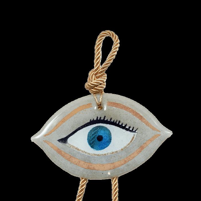 Γούρι γυάλινο χειροποίητο μάτι ''Καλλίστη'' DBAG33 36εκ. Βλεφαρίδα λευκό