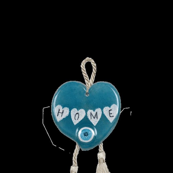 Γούρι γυάλινο χειροποίητο καρδιά σιέλ ''Καλλίστη''22,5εκ.