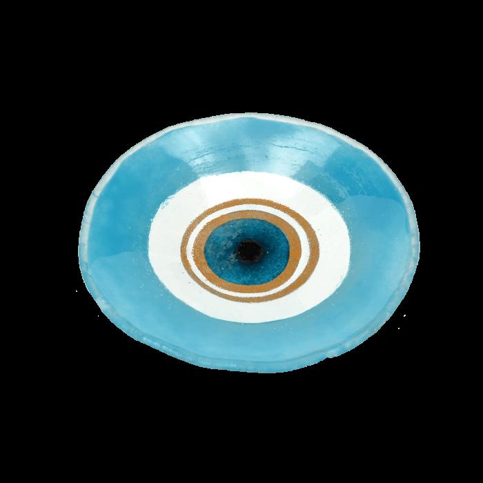 Πιατέλα χειροποίητη γυάλινη ''Καλλίστη'' μάτι γαλάζιο 18,5εκ.