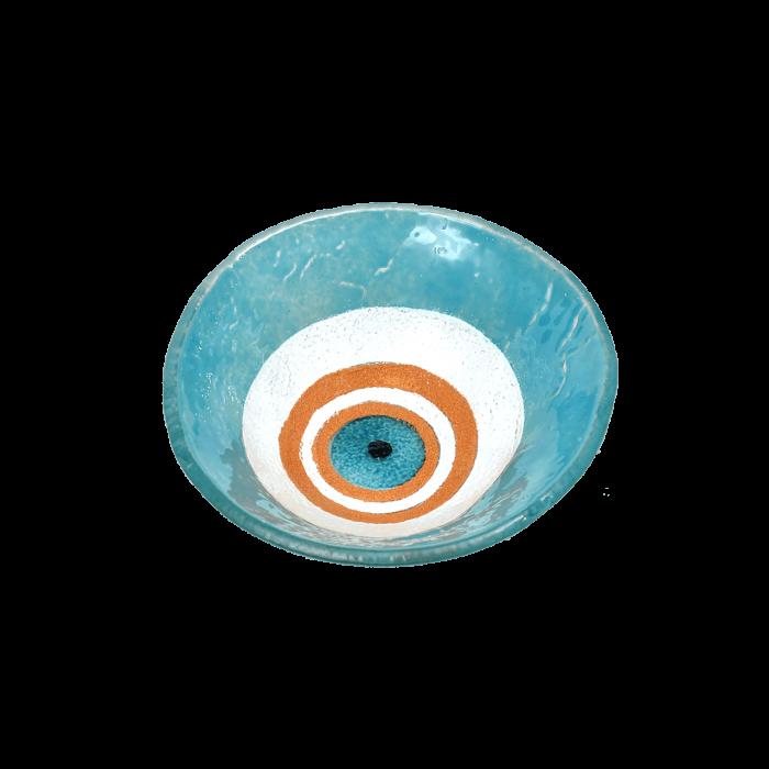 Μπωλ γυάλινο χειροποίητο ''Καλλίστη'' μάτι γαλάζιο 13εκ.