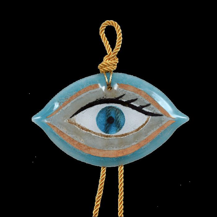 Γούρι γυάλινο χειροποίητο μάτι ''Καλλίστη'' DBAG21  38εκ. Βλεφαρίδα γαλάζιο