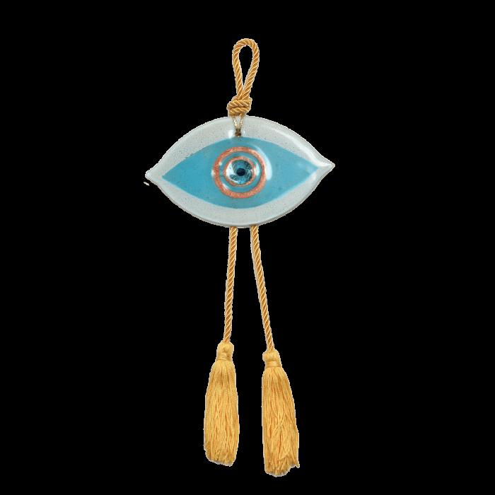 Γούρι γυάλινο χειροποίητο μάτι ''Καλλίστη'' DBAG13  37εκ. λευκό-σιέλ-χρυσό